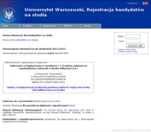 Uniwersytet Warszawski Internetowa Rejestracja Kandydatow