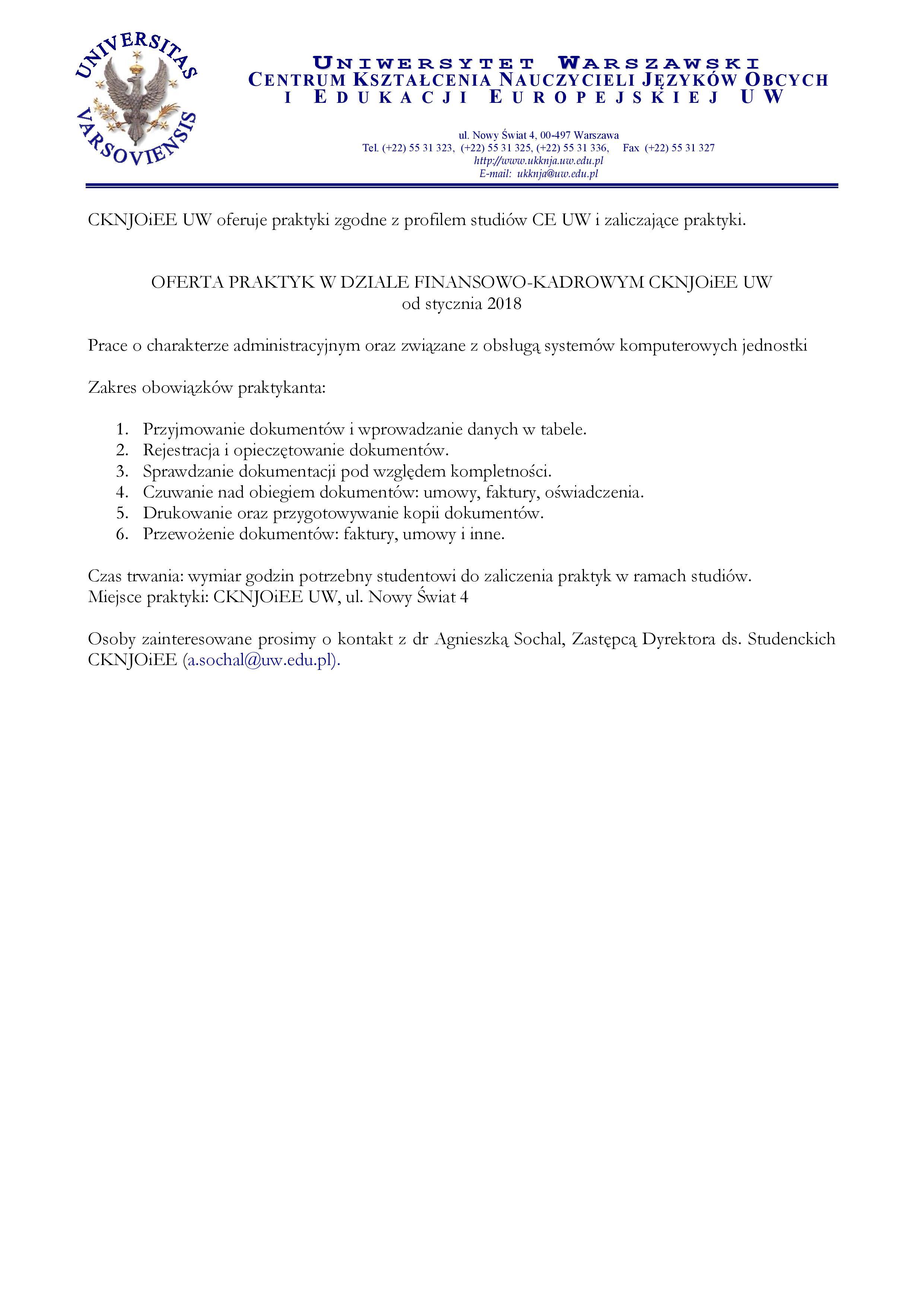 Praktyki Dla Studentów CE WCKNJOiEE   1 Page 001