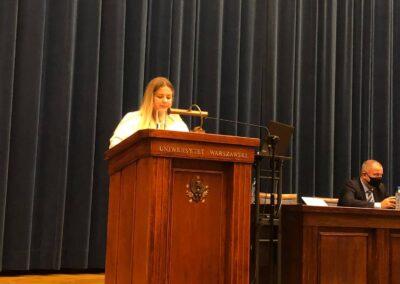Wystąpienie przewodniczącej Samorządu Studentów Europeistyki Weroniki Frąckiewicz